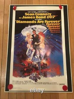 007 Diamonds Are Forever Movie Poster 1pc James Bond Sean Connery 1971 England