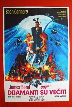 007 James Bond Diamonds Are Forever Sean Connery 1971 Rare Exyu Movie Poster