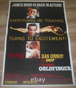 007 James Bond GOLD FINGER' 1964 Vintage Big Poster 36×24 inch SEAN CONNERY