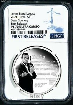2021 James Bond Legacy Sir Sean Connery SILVER PROOF $1 1oz COIN NGC PF70 FR