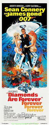 DIAMONDS ARE FOREVER MOVIE POSTER Insert Size 14x36 SEAN CONNERY is JAMES BOND