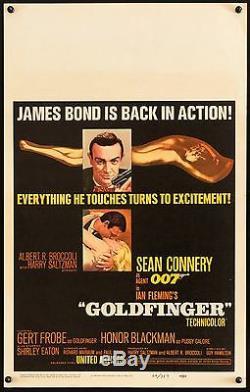 GOLDFINGER 1964 US Window Card poster James Bond 007 Sean Connery filmartgallery
