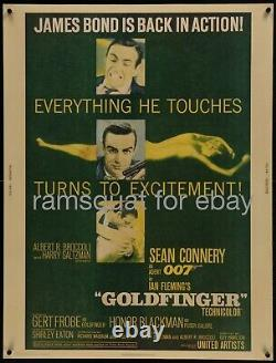 Goldfinger 1964 RARE 30x40 paperbacked Sean Connery James Bond 007 Gert Frobe