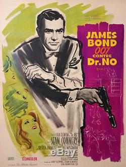 JAMES BOND 007 SEAN CONNERY Dr NO ORIGINAL FRENCH MOVIES POSTER PURPLE VARIANT