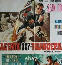 JAMES BOND THUNDERBALL Original Movie Poster 39x55 2Sh Italian SEAN CONNERY 007