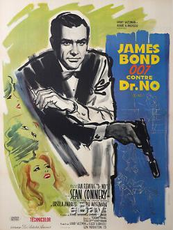 James Bond 007 Sean Connery Doctor No Original French Movies Poster Blue Variant
