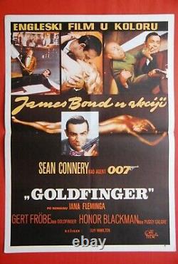 James Bond Goldfinger Sean Connery 1965 Vintage Rare Exyugo Movie Poster