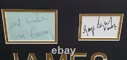 Sean Connery Roger Moore Dalton Pierce Signed Auto Cuts Framed Photos James Bond