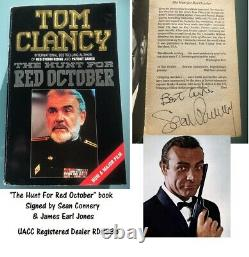 Sean Connery signed book THE HUNT FOR RED OCTOBER James Bond JAMES EARL JONES