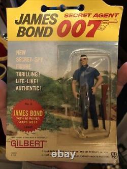 Vintage Gilbert 1965 James Bond 007 Sean Connery Collectible figure & Rifle MOC